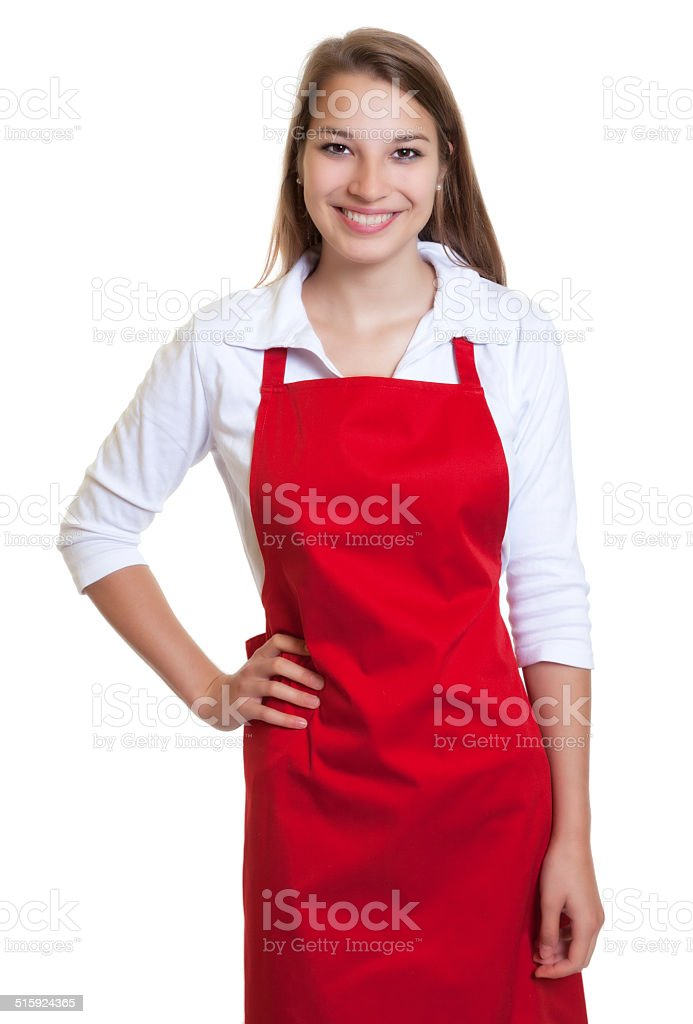 Laughing waitress with red apron stock photo