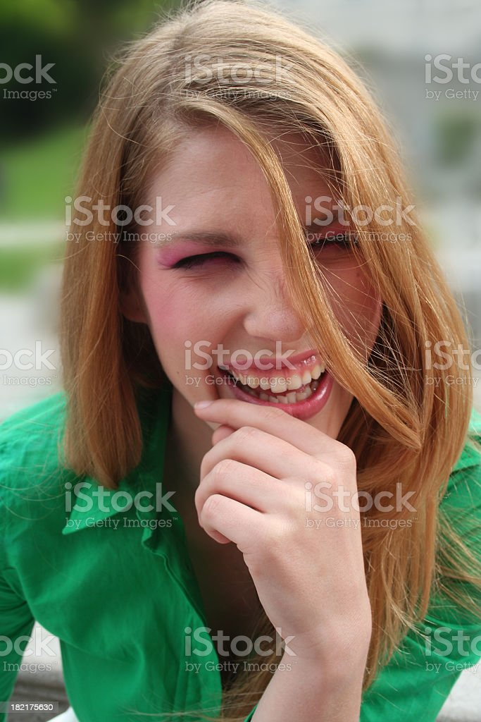 Laughing with her heart royalty-free stock photo