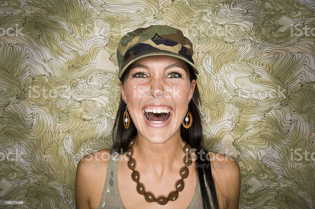 Laughing Woman in Camo royalty-free stock photo