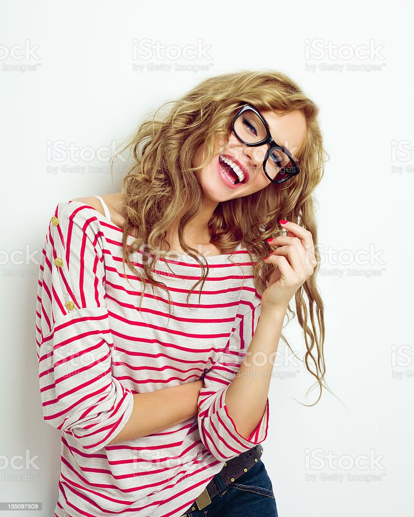 Laughing Woman in Glasses stock photo