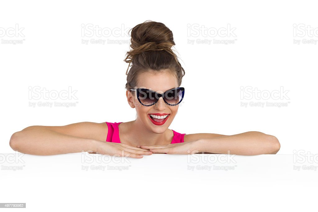Laughing Woman In Sunglasses stock photo