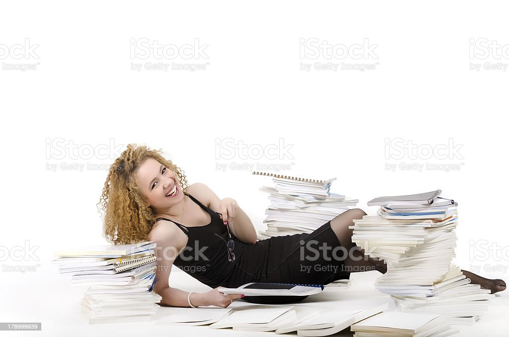 Laughing workaholic woman royalty-free stock photo