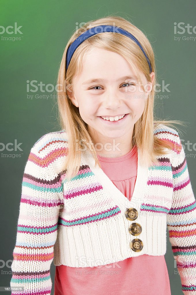 Laughing young 10 year old child stock photo