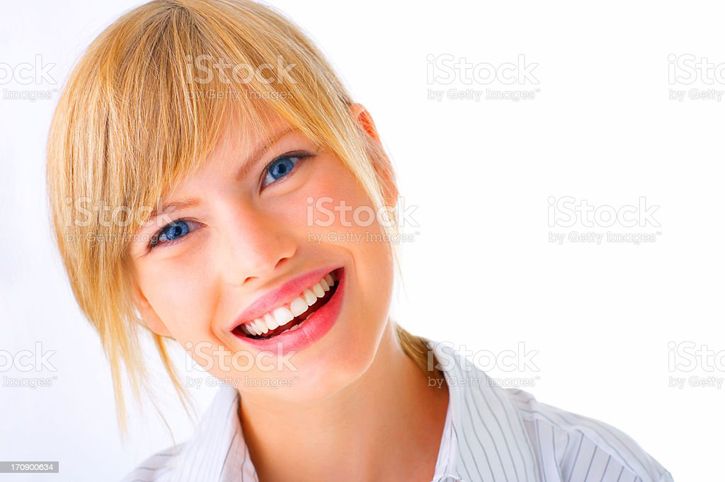 Laughing young female student stock photo