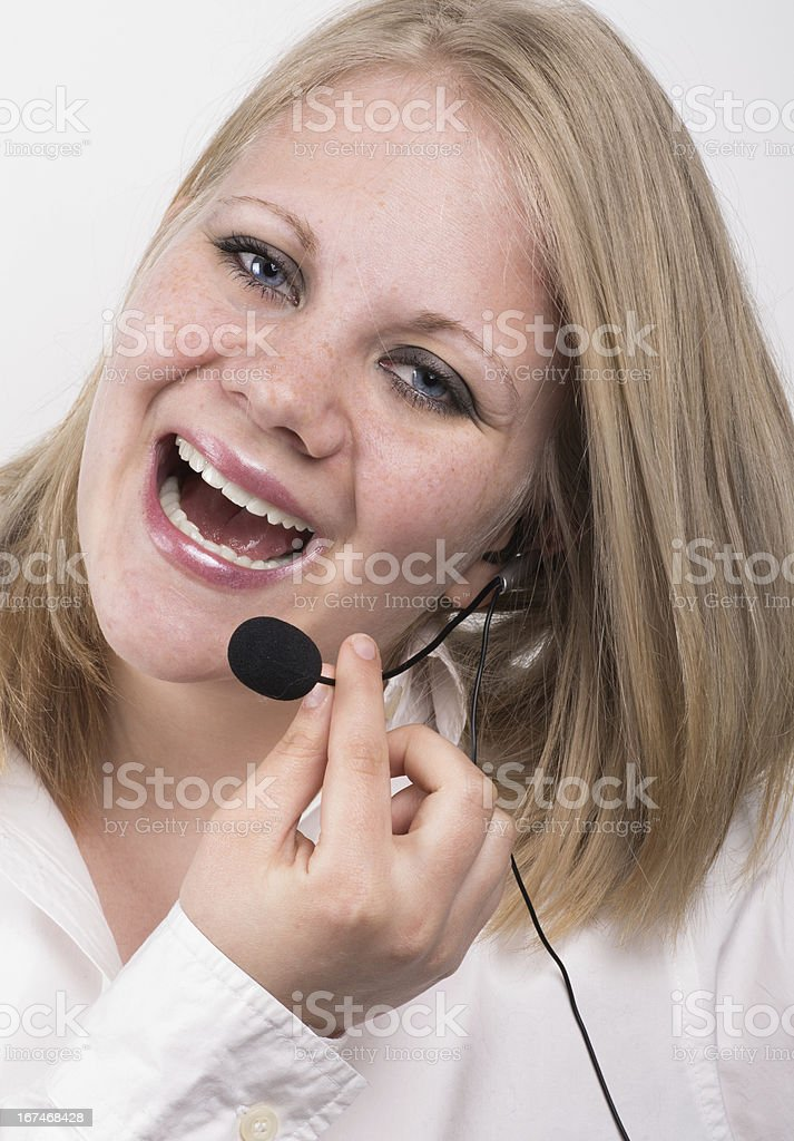 laughing young female telephone operator royalty-free stock photo