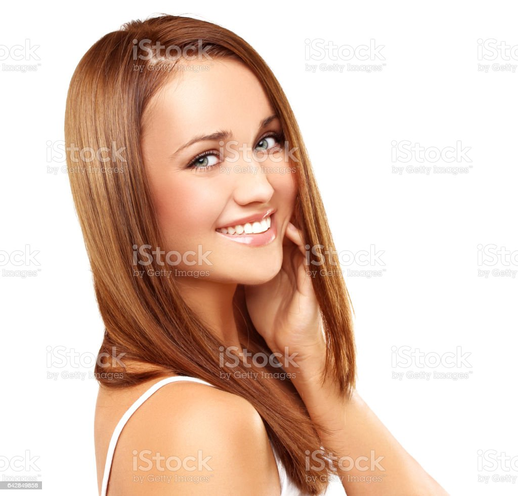 Laughing young girl with beautiful hair stock photo