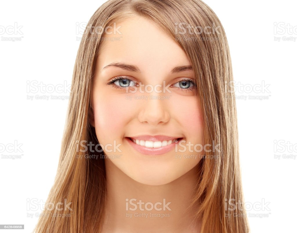 Laughing young girl with blond hair stock photo