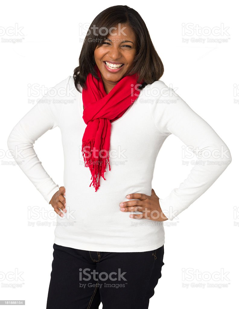 Laughing Young Woman, Hands On Hips royalty-free stock photo