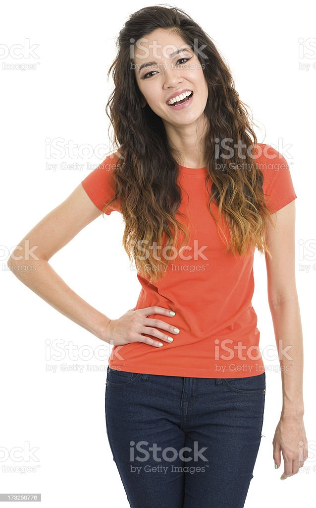 Laughing Young Woman Posing royalty-free stock photo