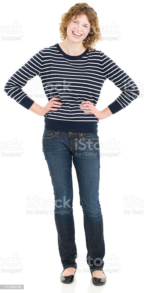 Laughing Young Woman Standing Full Length Portrait royalty-free stock photo