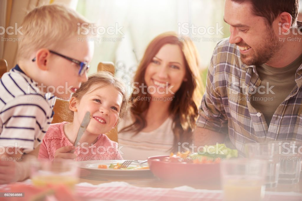laughs at lunch stock photo