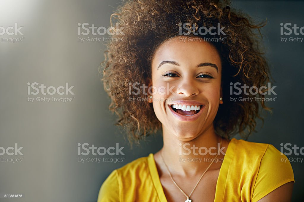 Laughter is contagious, pass it on stock photo