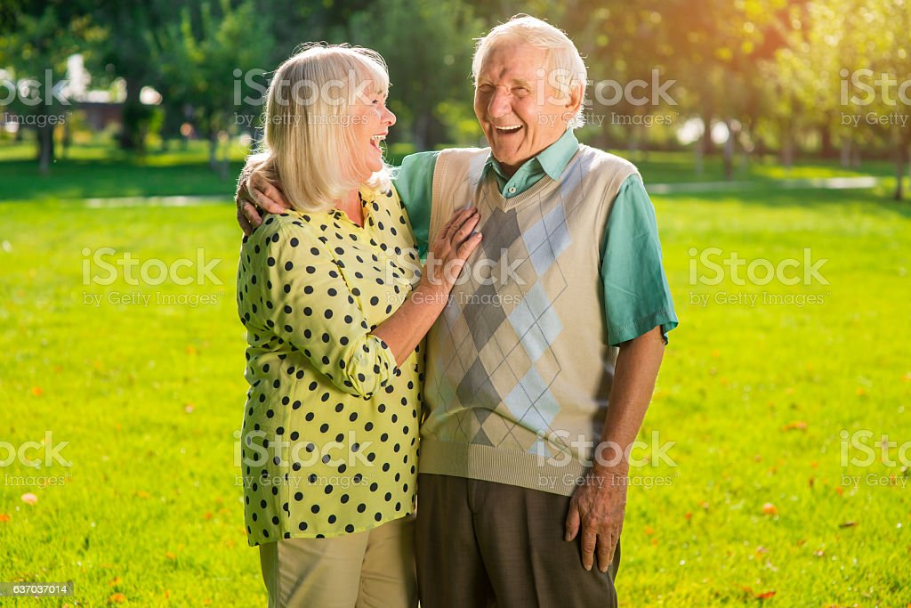 Laughter of senior couple. stock photo