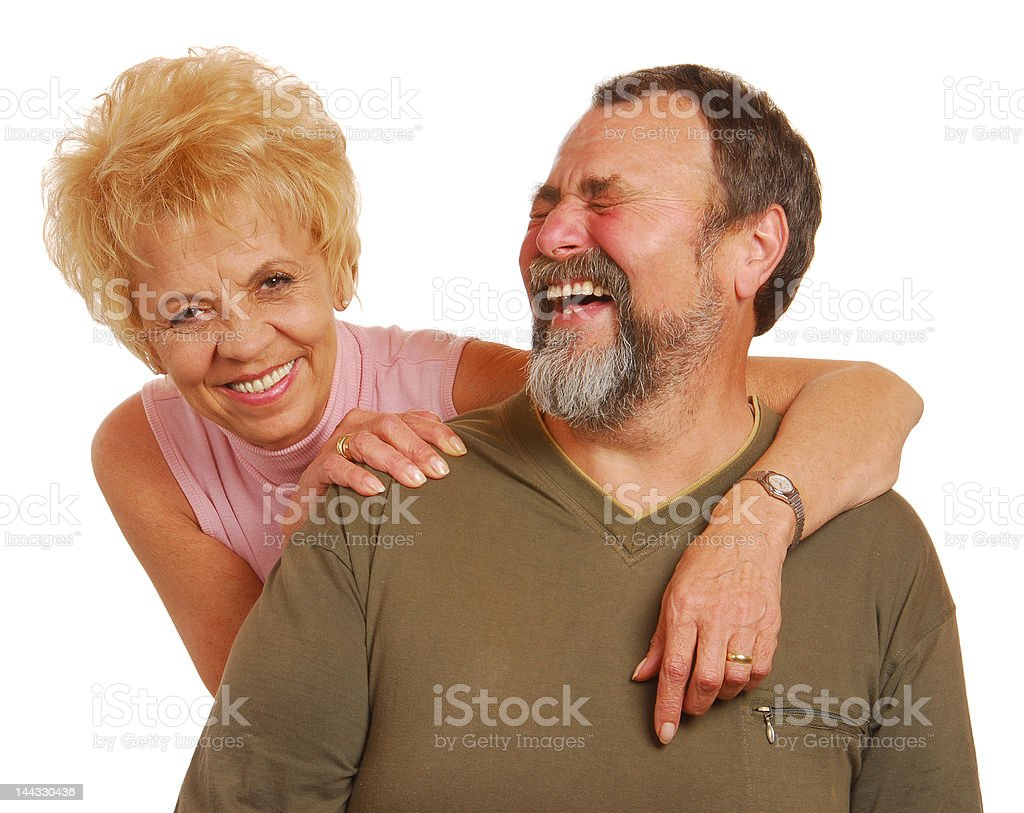 Laughting old couple royalty-free stock photo