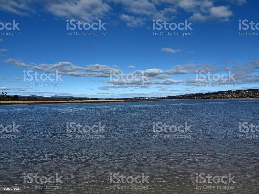 Launceston suburbs overlooking Tamar river stock photo