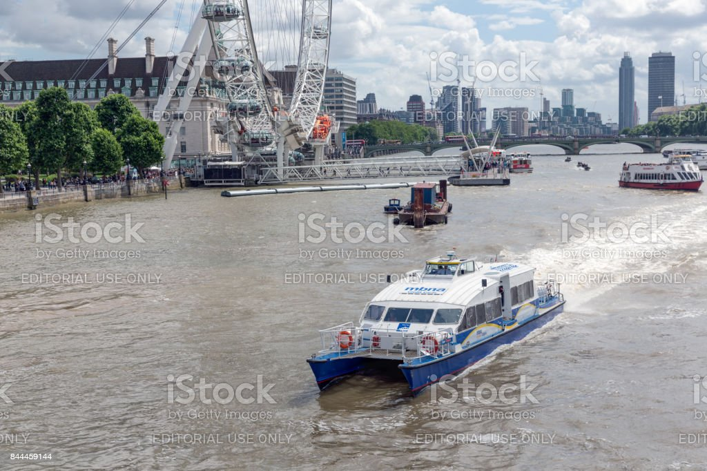 Launch at river Thames in London near millennium wheel stock photo