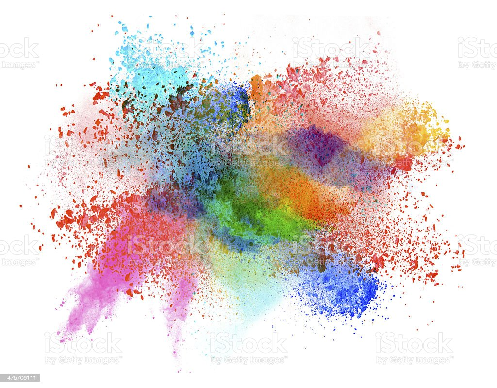 launched colorful powder over white stock photo