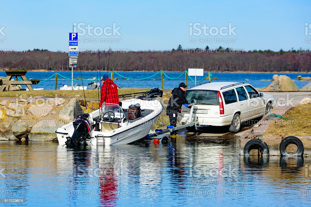 Launching a boat stock photo