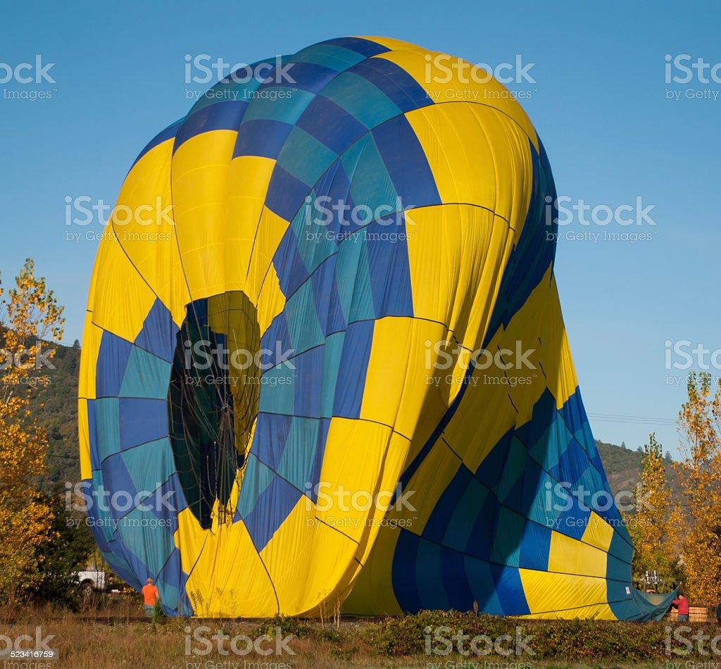 Launching a Hot Air Balloon in Napa Valley California stock photo