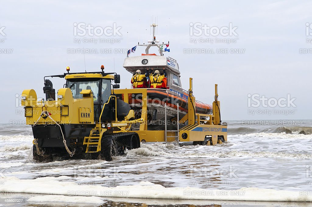 Launching a lifeboat royalty-free stock photo