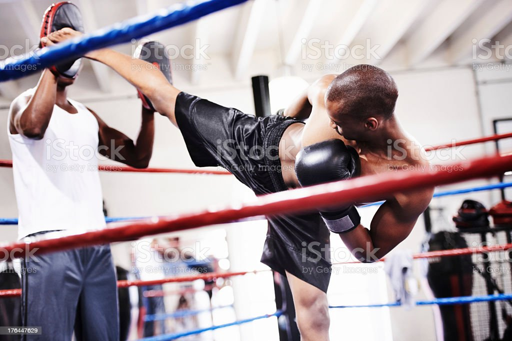 Launching a magnificent kick! royalty-free stock photo