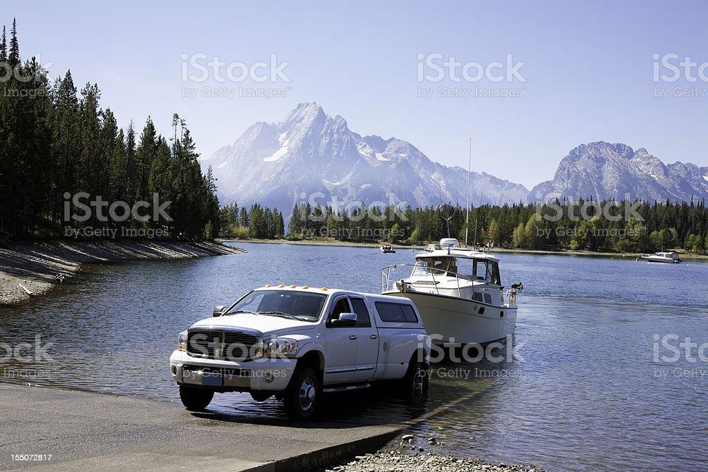 Launching at Boat Ramp royalty-free stock photo