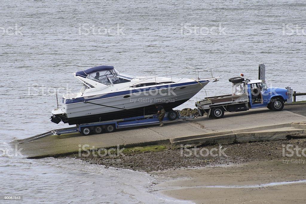 Launching at Boat Ramp stock photo