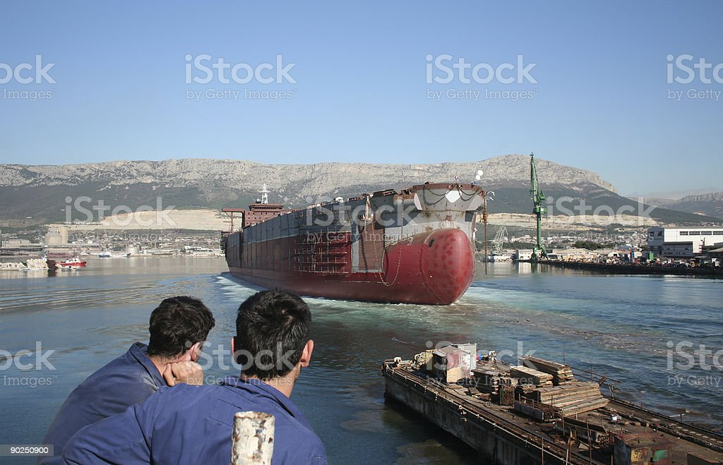 Launching of a ship royalty-free stock photo