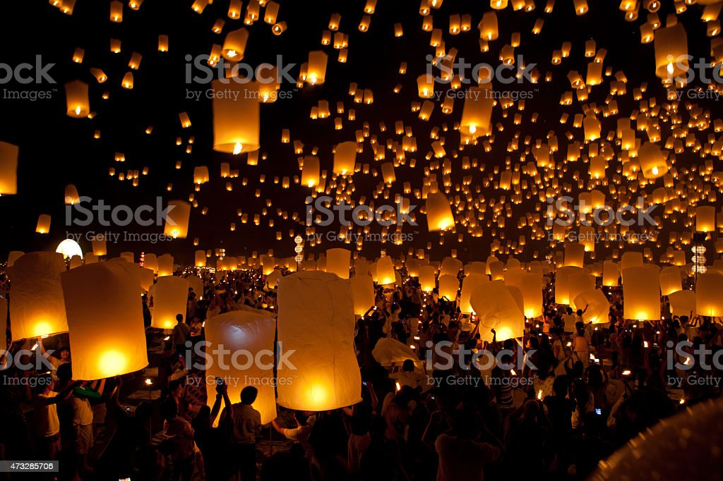launching sky lanterns in Loy Krathong and Yi Peng Festival stock photo