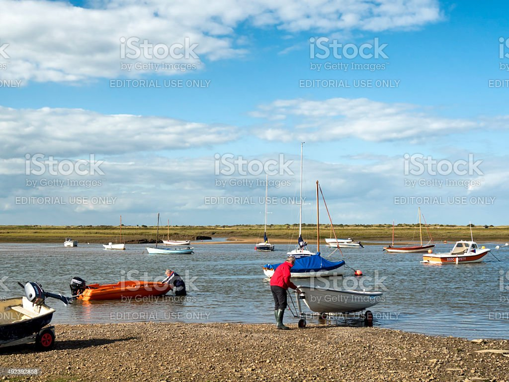 Launching tenders at Brancaster Staithe stock photo