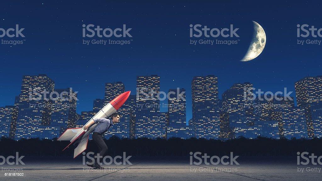 Launching the man stock photo