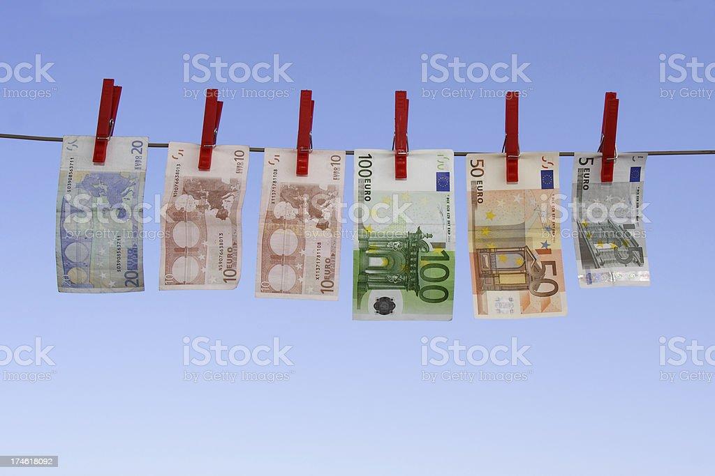 laundered Euro bills 3 royalty-free stock photo