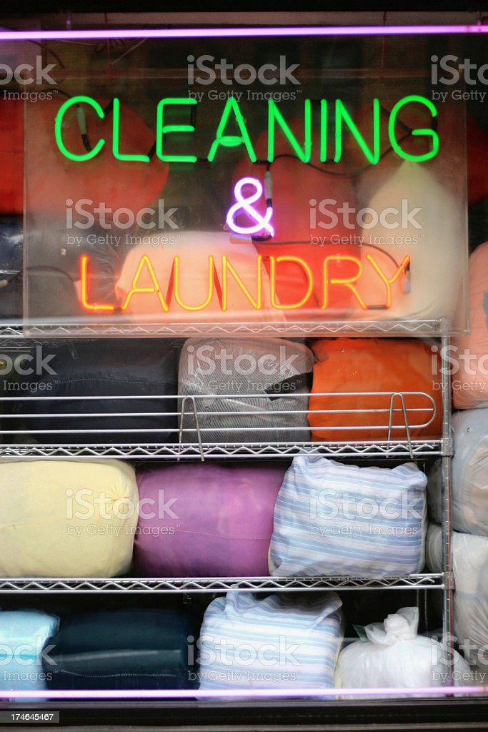 Laundromat Window - Dry Cleaning and Laundry Neon Sign stock photo