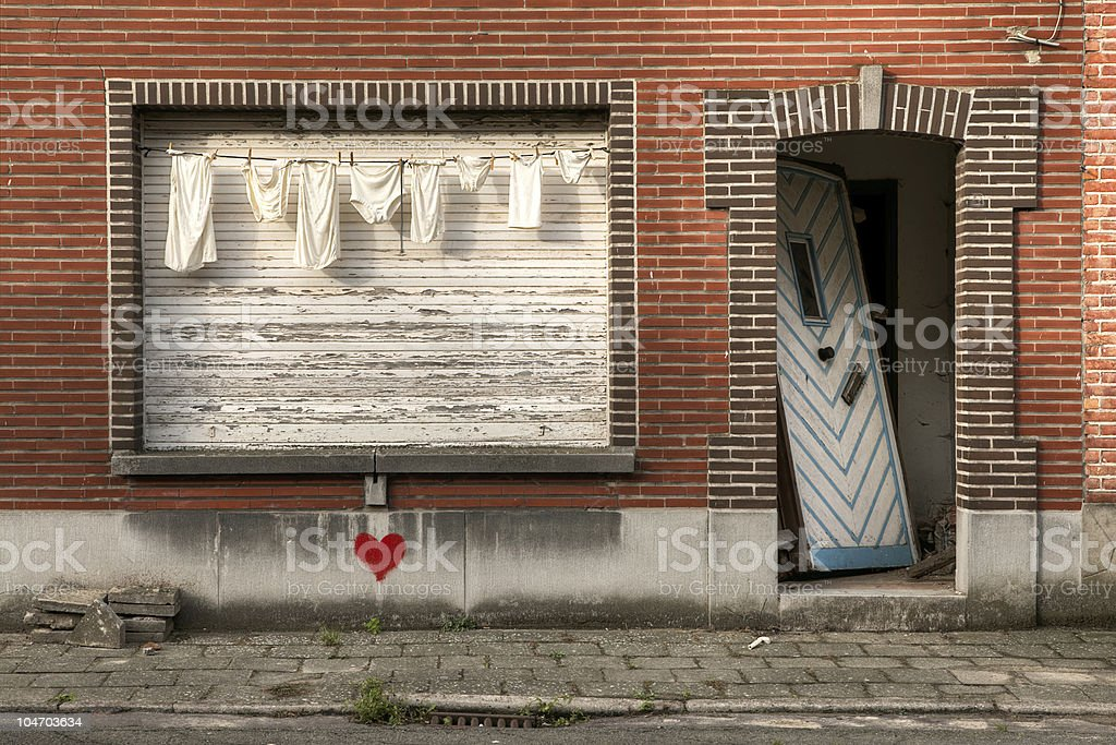 laundry and abandoned house royalty-free stock photo