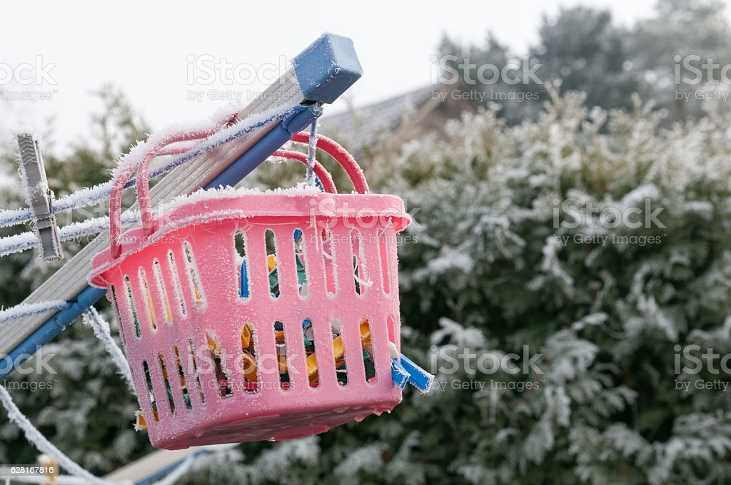 Laundry basket in the winter at the laundry spider stock photo
