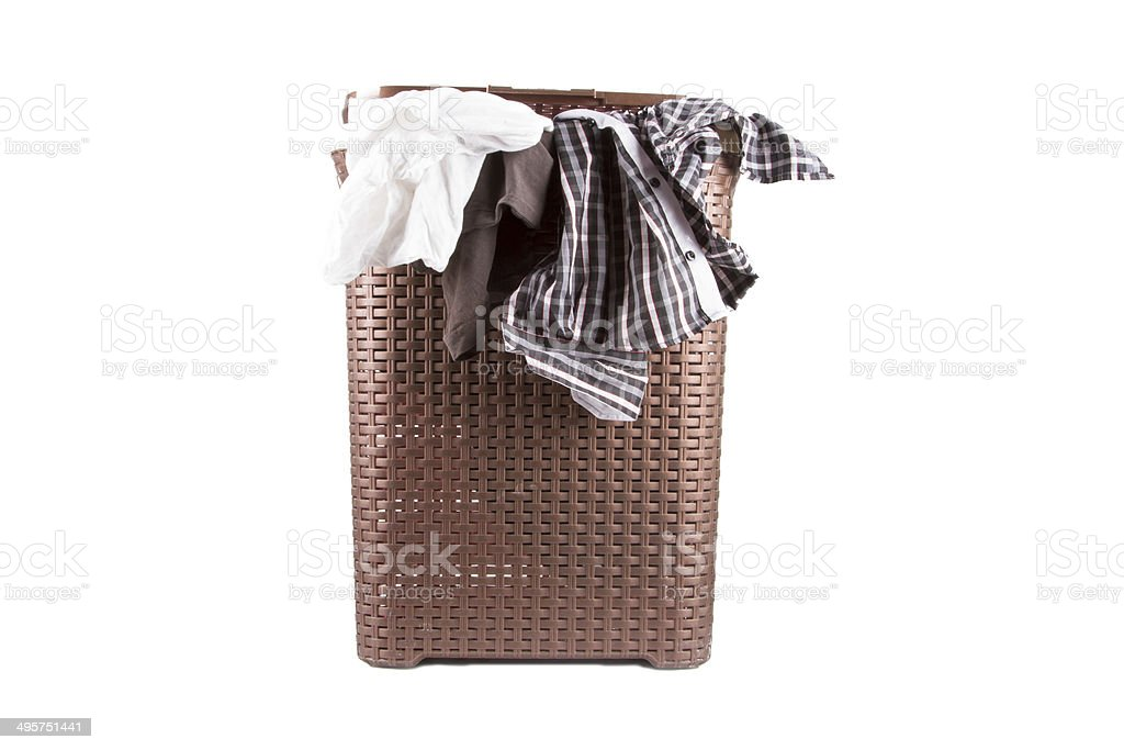 Laundry Basket with Clothes stock photo