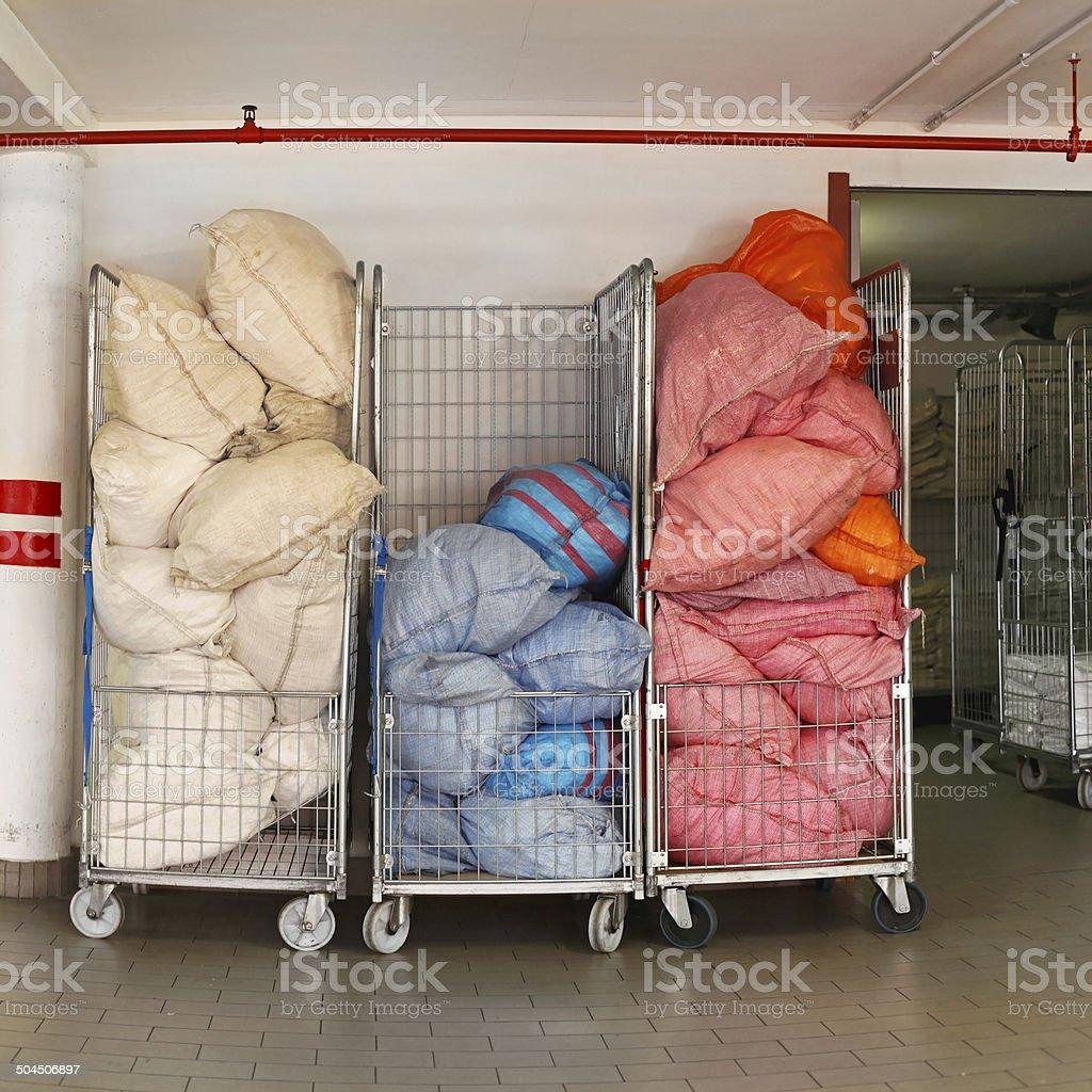 Laundry carts stock photo