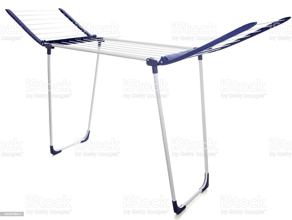 Laundry, clothes drying rack stock photo