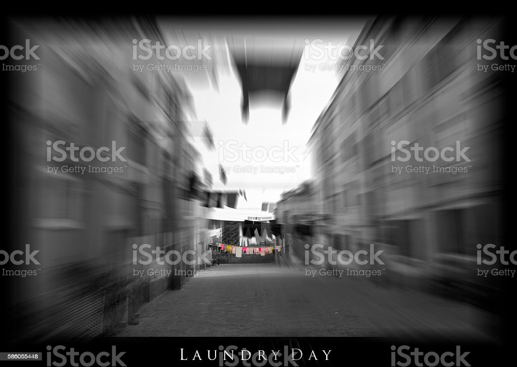 Laundry Day in Europe with bokeh effect- poster and title stock photo
