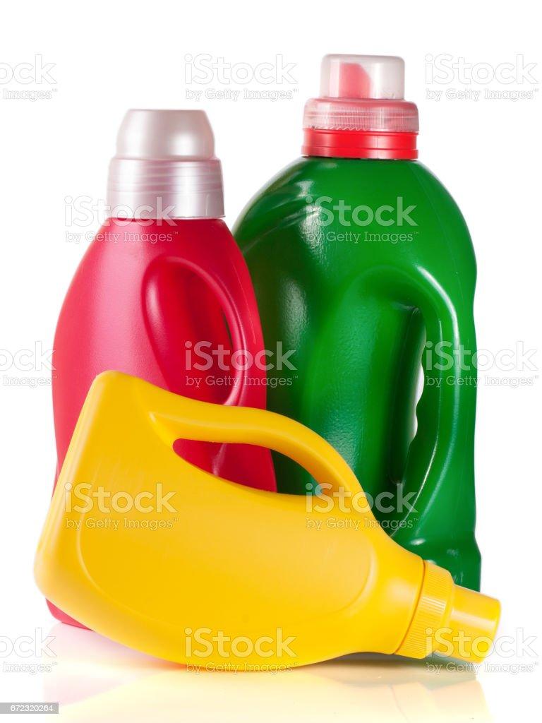 laundry detergent bottle with fabric softener isolated on white background stock photo