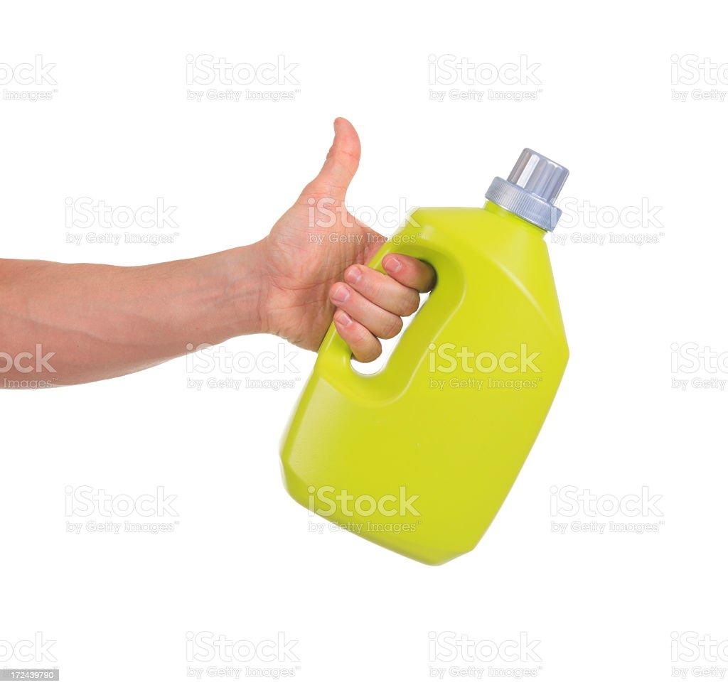Laundry Detergent Hand Positive stock photo