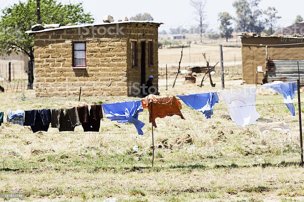 Laundry drying at rural settlement in KwaZulu-Natal, South Africa stock photo