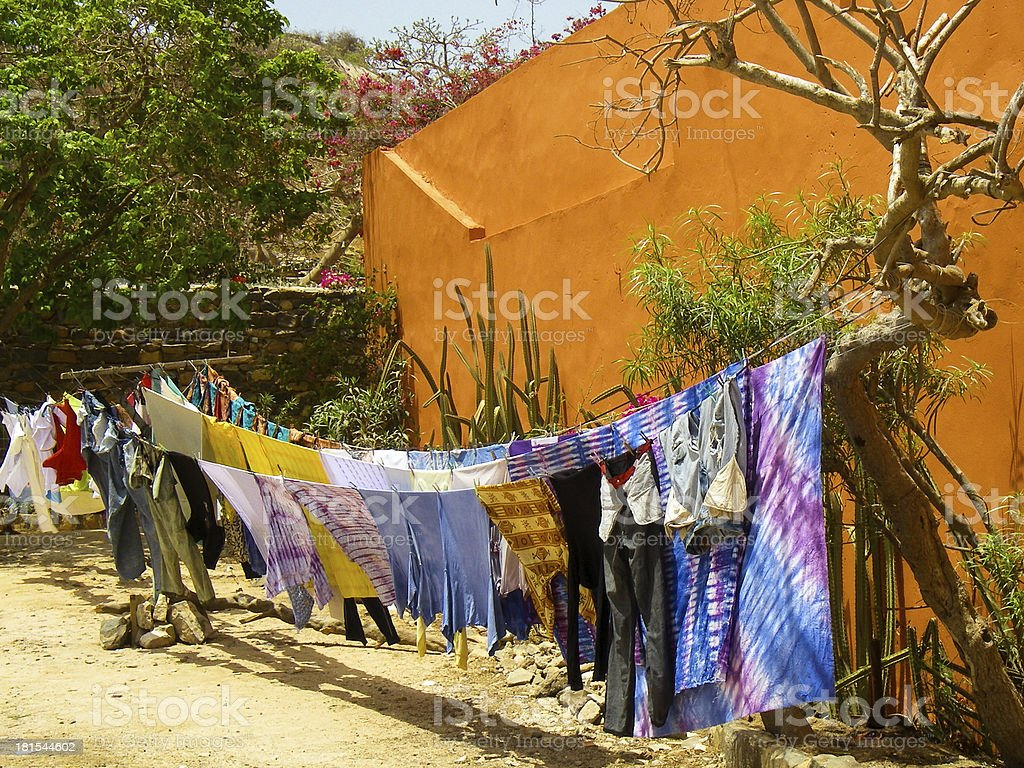 Laundry Drying Goree Island Dakar Senegal West Africa stock photo