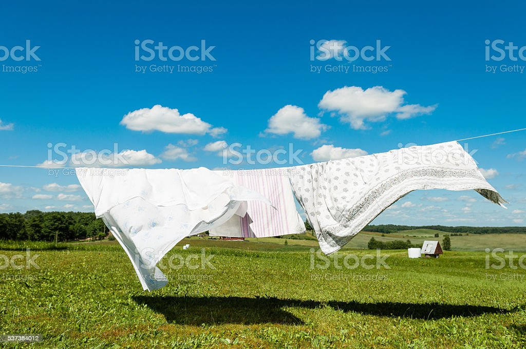 Laundry drying in a wind, white sheets on a wind in nature background stock photo