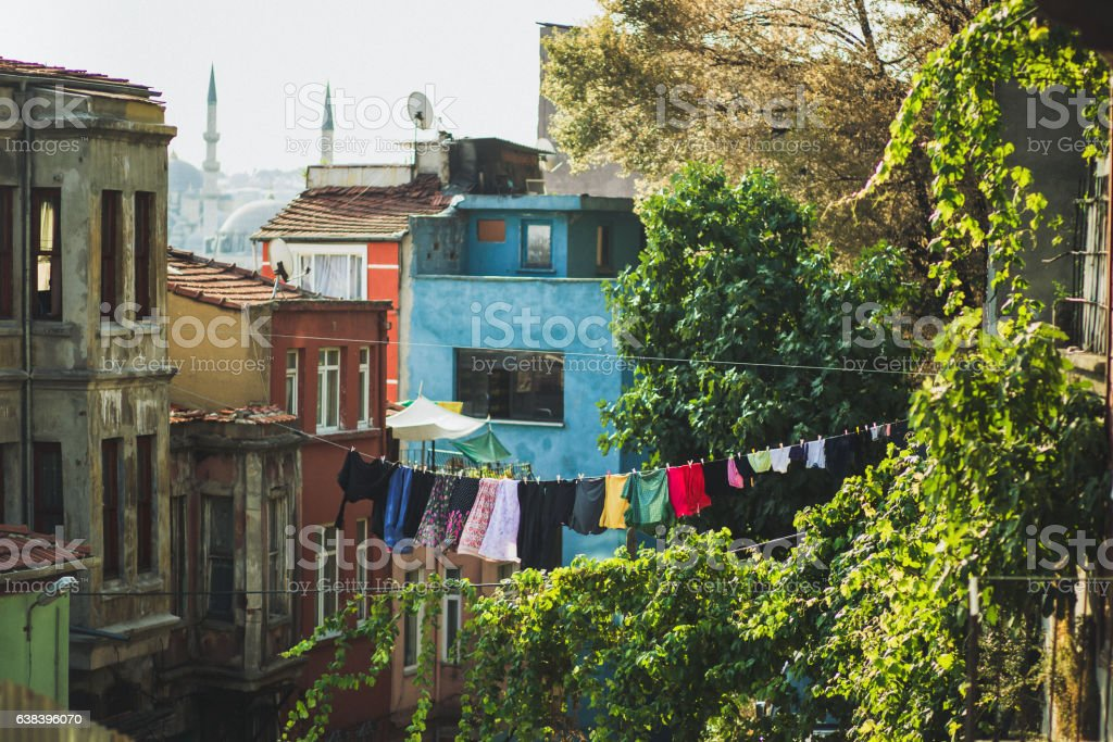 Laundry drying on the streets of Istanbul stock photo