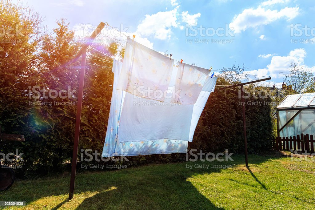laundry drying stock photo