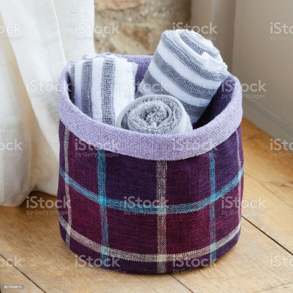 Laundry Fabric Basket stock photo