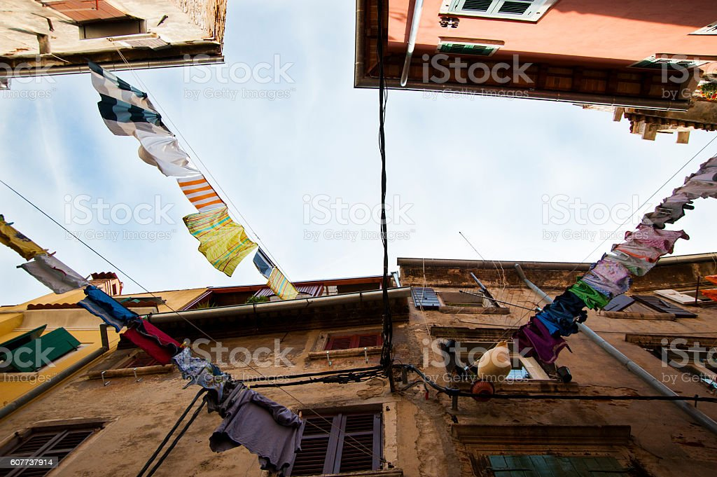 Laundry Hanging in the historic town of Porec, Croatia stock photo