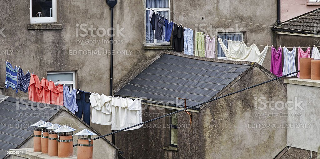 Laundry hanging on lines in Cobh, Ireland royalty-free stock photo