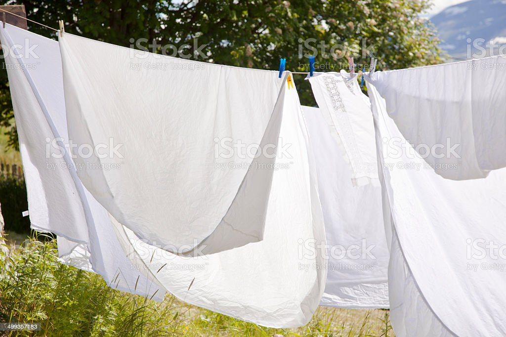 Laundry in summer. stock photo